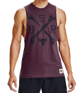 Under Armour Men's Project Rock Tank Dark Red/Black Large 1360741-569