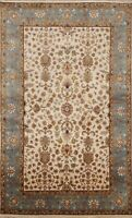 Floral Agra Vegetable Dye Oriental Area Rug Hand-knotted Kitchen Carpet 4'x6'