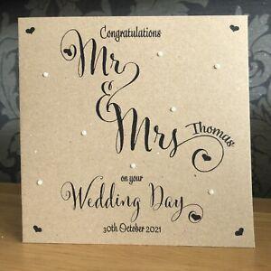 Handmade Personalised Wedding Day Card Kraft Anniversary Heart FREE CONFETTI 💖