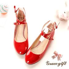 Plus SZ Lady Sweet Ankle Strap Round Toe Flat Pumps Mary Janes Lolita Shoes Chic