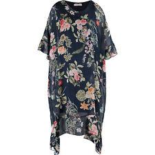 RENEE Premium Womens Silk Blend Blue Floral Trapeze Dress Draped Sleeves UK10 S