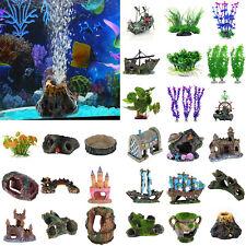 Artificial Aquarium Ornament Fish Tank Stone House Resin Landscape Decor Lot