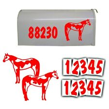 REFLECTIVE MAILBOX NUMBER address DECAL KIT and American Paint Horse in RED