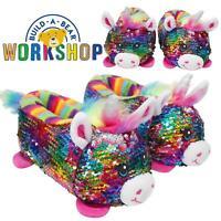Official Build a Bear 3D Slippers Rainbow Unicorn Reversible Sequins Girls