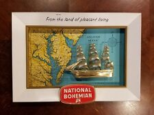 Vintage National Bohemian Beer Sign Metal Map Sailing Ship Rare