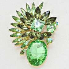 """2.75"""" Long Green Brooch With Gold Toned Accents"""