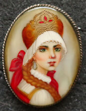 Russian hand painted mother of pearl pin