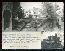 1940's Real Snapshot Photo Christmas Card Fred & Jean Caudle Couple House