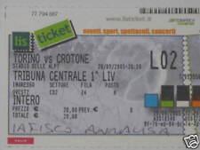 TORINO - CROTONE TICKET BIGLIETTO 2005/06 SERIE B