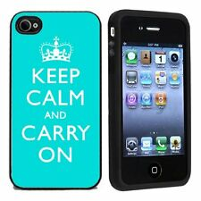 Rubber Turquoise Keep Calm and Carry On For Apple iPhone 4 or 4s Case / Cover Al