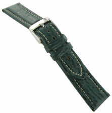 20mm T&C Mens Green Genuine Shark Padded Stitched Watch Band Regular