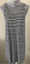 Ladies Black & White Stripe Sleeveless Mini Sun Dress Size S Small 10 12 14 H&M