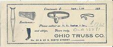 Vintage Paper Ephemera OHIO TRUSS CO Cincinnati Ohio 1898