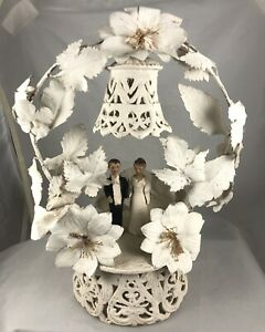 Vintage Wedding Cake Topper Beautiful Bride, Groom with mustache!