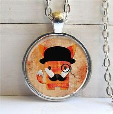 Vintage fox Cabochon Tibetan silver Glass Chain Pendant Necklace @G101
