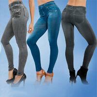 Damen Jeans-Look Hose Röhre Skinny Stretch Leggings Leggins Treggings Jeggings