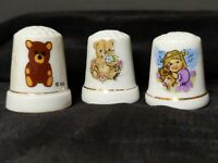 LOT OF 3 VINTAGE TEDDY BEAR AND LITTLE GIRL THIMBLES
