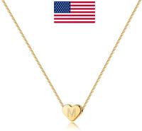 Heart Initial Necklaces for Women Girls - 14K Gold Filled Heart Pendant Letter
