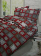 Schiesser Fein Biber Bettwäsche Set 2 teilig 155 x 220 cm rot/grau kariert