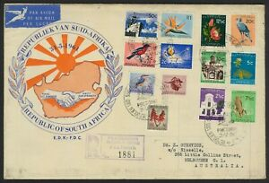 South Africa 1961 Pictorial Set/13 Stamps On Registered First Day Cover FDC 10-7
