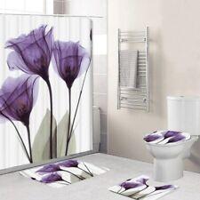 1set/4Pcs Flower Tulips Lavender Shower Curtains Bathroom Rug toilet seat cover
