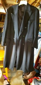 Men's NORDSTROM BLACK CASHMERE DOUBLE BREASTED COAT..XL VGC