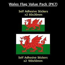 Wales / Welsh Flag Sticker Decals - Value Pack! - GB, Van, Car, Truck