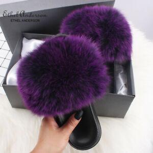 Women's Real Farm Fox Fur Racc00n Fur Slides Fluffy Slippers Vogue Plush Shoes