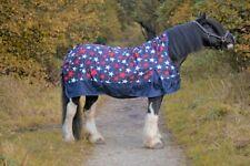 Highneck Weidedecke Regendecke Highneckdecke Pferdedecke Fleece blau + Sternchen