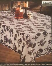 "Benson Mills Halloween Skull & Bones Black Lace Tablecloth ~  Round  70""  NEW!"