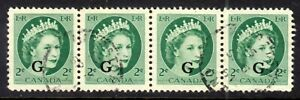 """CANADA OFFICIAL #O41i 2c STRIP/4, 1955 WIDE SPACING :""""G"""" OVERPRINT, VF, USED"""