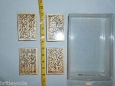 Stampin up stained glass rubber stamp set lot four stamps seasons flowers birds