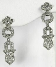 Platinum Diamond Antique Style Drop Earrings w/42-Diamonds at 0.43ct total wt.