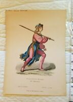C. 1870 Germany Berlin Hand Colored Chromolithograph Print Burgundicher Knappe