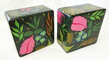 Pair 1980s Haitian Wooden Covered Boxes w. Painted Floral Motif (Stea)