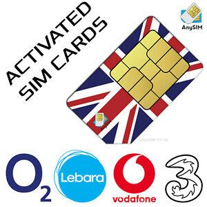Activated SIM Cards UK NL Vodafone Lebara O2 Three +44 +31 Receive Free SMS