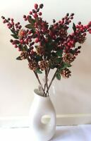 4x73cm Christmas Red Berry Holly Branch Pine Cone Artificial Flower Xmas Wreath