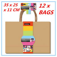 12 X CRAFT DIY BROWN GIFT BAGS WITH HANDLE 35 x 25CM PARTY GIFT WRAP WRAPPING f