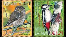 Birds set of 2 stamps mnh 2016 Latvia #935-6 pygmy owl, spotted woodpecker