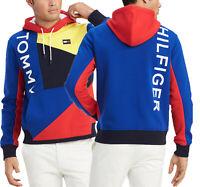 Tommy Hilfiger Men's Surf The Web Blue Finesse Colorblock Fleece Pullover Hoodie