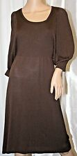 MAX STUDIO SCOOP NECK LONG SLEEVE SWEATER DRESS KNIT TUNIC BROWN S