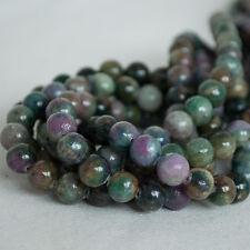 Grade A Natural Ruby in Kyanite Semi-precious Gemstone Round Beads - 8mm