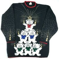 Holiday Time Womens Sz M Ugly Christmas Sweater Bears Candles Shimmer Black