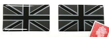 2 x Union Jack Flag Stickers Domed Finish Black & 2 Tone Grey 50mm x 25mm