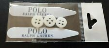 Polo Ralph Lauren White Shirt Collar Stays Spare Buttons Set 4.5 cm Stiffeners