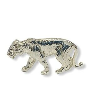 English Made Hallmarked Sterling Silver Tiger Model Figure