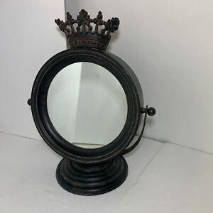 Round Mirror Princess Crown Metal Table Top Vanity Beauty Bedroom Bathroom Decor