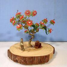 Hand crafted beaded glass copper wired bonsai tree ceramic mudman wood slab