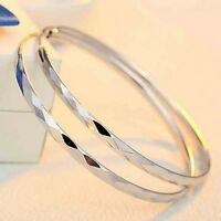 925 Sterling Silver Diamond Pattern 40mm Hoop  Earrings