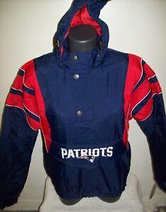 NEW ENGLAND PATRIOTS Starter Hooded Half Zip Pullover Jacket S M XL 2X BLUE